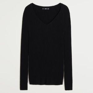 Mango Ribbed Black Sweater